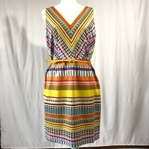 London Times Multicolored Print Sleeveless Dress